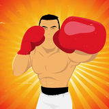 Grunge Boxer Left Jab. Illustration of a vintage boxer athlete Stock Photo