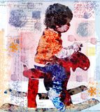 Grunge boy on the deer Stock Photos