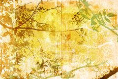 Grunge branches in the garden. On painted background with swirls and spots Stock Photography