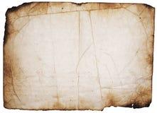Grunge brannte Seite auf Weiß Lizenzfreie Stockfotografie