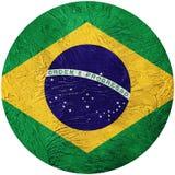 Grunge Brasil flag. Brazilian button flag Isolated on white back Royalty Free Stock Image