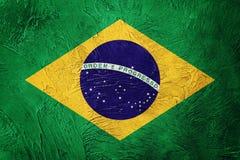Grunge Brasil flaga Brazylijczyk flaga z grunge teksturą Zdjęcia Stock