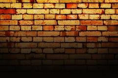Grunge brick wall background. Dark grunge brick wall texture with black gradient, abstract background Stock Photo