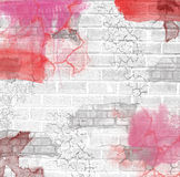 Grunge brick wall background. Grunge urban brick wall background with spots and colors Royalty Free Stock Images