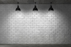 Grunge Brick Wall and Ceiling Lamps Stock Photography