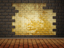 Grunge brick wall interior Stock Images