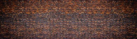 Grunge brick wall, old brickwork panoramic view Stock Images