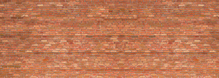 Grunge brick wall, old brickwork panoramic view Royalty Free Stock Image