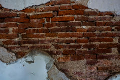 Grunge brick wall. Old brick wall fixed with cement Stock Photos