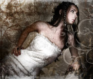 Grunge bride stock photography
