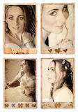 Grunge bride photos. Grunge photo frames with bride in vintage finish � eyes are perfecty sharp, made from my photos and designs, clipping path for the stock images