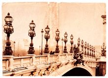 Grunge bridge. Grunge page illustration with bridge in Paris Royalty Free Stock Photography
