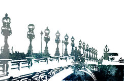 Grunge bridge in Paris Royalty Free Stock Photography