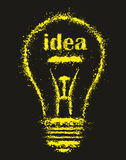 Grunge bright Idea Light Bulb - illustration Royalty Free Stock Photos