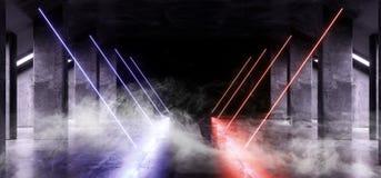 Grunge brillante del hormigón del metal de Violet Glowing Triangle Sci Fi del humo de la nave espacial del triángulo virtual futu libre illustration