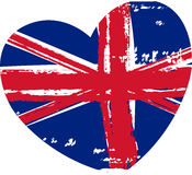Grunge Britain flag in heart shape Royalty Free Stock Photo
