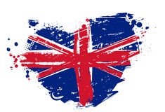 Grunge Britain flag in heart shape Stock Photo