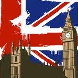 Grunge British Background. Grunge British  Design with Big Ben London Royalty Free Stock Image