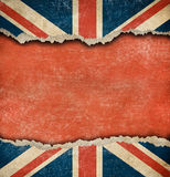 Grunge British flag on ripped paper with big copyspace Royalty Free Stock Image