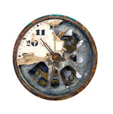 Grunge and broken clock dial. On white Stock Photo