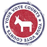 Grunge broken democrat donkeys rubber stamp. USA presidential election patriotic seal with broken democrat donkeys silhouette and Your Vote Counts text. Rubber Stock Photography