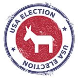 Grunge broken democrat donkeys rubber stamp. USA presidential election patriotic seal with broken democrat donkeys silhouette and USA Election text. Rubber Stock Photography