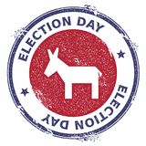 Grunge broken democrat donkeys rubber stamp. USA presidential election patriotic seal with broken democrat donkeys silhouette and Election Day text. Rubber Royalty Free Stock Photography