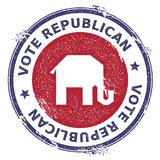 Grunge broken republican elephants rubber stamp. USA presidential election patriotic seal with broken republican elephants silhouette and Vote Republican text Royalty Free Stock Photo