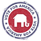 Grunge broken republican elephants rubber stamp. USA presidential election patriotic seal with broken republican elephants silhouette and Vote For America text Royalty Free Stock Photo