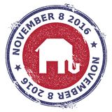 Grunge broken republican elephants rubber stamp. USA presidential election patriotic seal with broken republican elephants silhouette and November 8, 2016 text Stock Photo