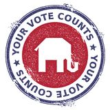 Grunge broken republican elephants rubber stamp. USA presidential election patriotic seal with broken republican elephants silhouette and Your Vote Counts text Stock Photography