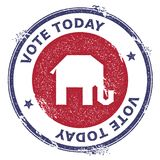 Grunge broken republican elephants rubber stamp. USA presidential election patriotic seal with broken republican elephants silhouette and Vote Today text Royalty Free Stock Photo