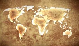 Grunge brown światowa mapa zdjęcia stock