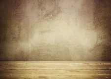 Grunge brown wall and wooden floor Royalty Free Stock Photo