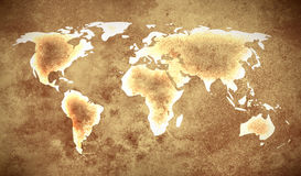 Grunge brown world map Stock Photos