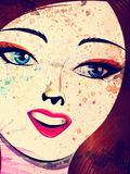 Grunge brunette with blue eyes Royalty Free Stock Photo