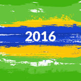 Grunge brush Brazilian flag with the inscription 2016. Vector illustration Royalty Free Stock Photos
