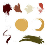 Grunge brush in different shape earth tone color. Vector brush design. abstract art. Royalty Free Stock Images