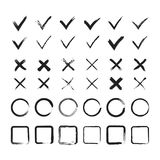 Grunge brush painted check marks, circles and squares set. Vector illustration Royalty Free Stock Photo