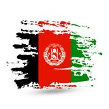Grunge brush stroke with Afghanistan national flag. Brush stroke background with Grunge styled flag of Afghanistan. Watercolor painting flag, poster, banner of stock illustration