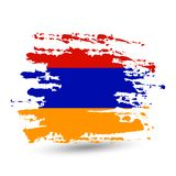 Grunge brush stroke with Armenia national flag. Brush stroke background with Grunge styled flag of Armenia. Watercolor painting flag, poster, banner of the stock illustration