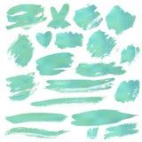 Grunge Brush Stroke. Blue vector illustration set Royalty Free Stock Photo