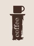Grunge brush stroke with a cup of coffee. Grunge background with a cup of coffee. Brush stroke with text Royalty Free Stock Photography