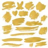 Grunge Brush Stroke. Gold vector illustration set Stock Photo