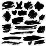 Grunge Brush Stroke. Black vector illustration set Stock Photo