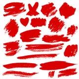 Grunge Brush Stroke. Red vector illustration set Stock Photography