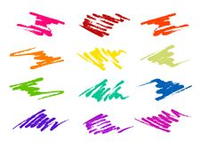 Brush strokes in different shapes and colors Stock Photos