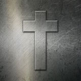 Grunge brushed metal background with cross Royalty Free Stock Images