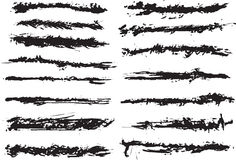 15 grunge brushes line. S on white stock illustration
