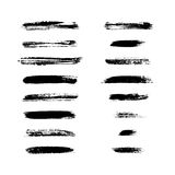 Grunge brushes stroke texture set. Black on white. Paintbrush artistic shape elements. Ink line. Watercolor art template. Paint design. Smear creative pattern Royalty Free Stock Photography